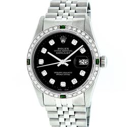 Rolex Mens Stainless Steel Slate Black Diamond & Emerald Datejust Wristwatch