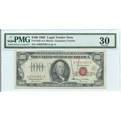 1966 $ 100 Legal Tender Note PMG Very Fine 30