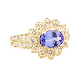 1.77 ctw Tanzanite And Diamond Ring - 14KT Yellow Gold