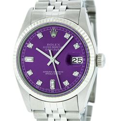 Rolex Mens Stainless Purple Diamond 36MM Datejust Wristwatch