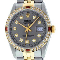 Rolex Mens 2 Tone 14K Slate Grey Diamond & Ruby Datejust Wristwatch