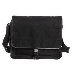 Prada Black Nylon Leather Trim Messenger Bag