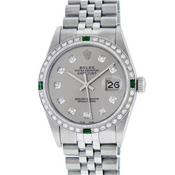 Rolex Mens Stainless Steel Slate Grey Diamond & Emerald Datejust Wristwatch