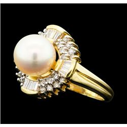 0.60 ctw Diamond and Pearl Ring - 14KT Yellow Gold