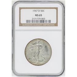 1947-D Walking Liberty Half Dollar Coin NGC MS65