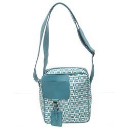 Bally Blue and White Monogram Canvas Leather Trim Crossbody Bag