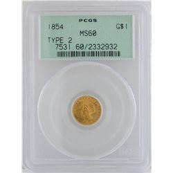 1854 $1 Gold Coin PCGS MS60