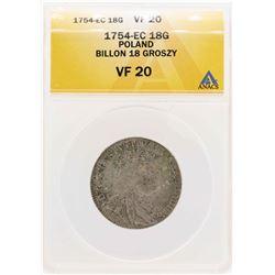 1754-EC Poland Billion 18 Groszy Coin ANACS VF20
