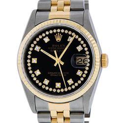 Rolex Mens 2 Tone 14K Black VS Diamond 36MM Datejust Wristwatch