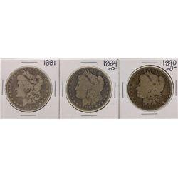 Lot of 1881, 1884-O & 1890-O $1 Morgan Silver Dollar Coins