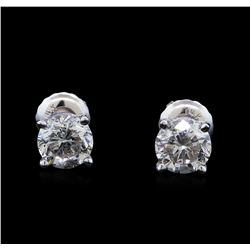 1.01 ctw Diamond Stud Earrings - 14KT White Gold