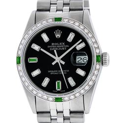 Rolex Mens Stainless Steel Black Baguette Diamond 36MM Datejust Wristwatch