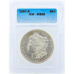 1897-S $1 Morgan Silver Dollar Coin ICG MS65