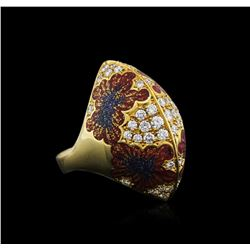 18KT Yellow Gold 0.80 ctw Diamond and Enamel Ring