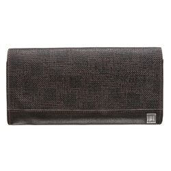 Dunhill Dark Brown Canvas Leather Bifold Long Wallet