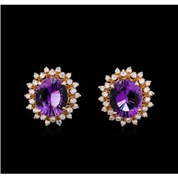 12.00 ctw Amethyst and Diamond Earrings - 14KT Rose Gold