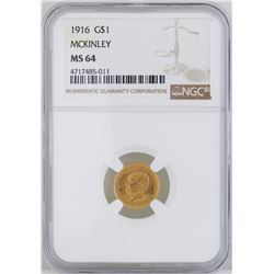 1916 $1 McKinley Gold Coin NGC MS64