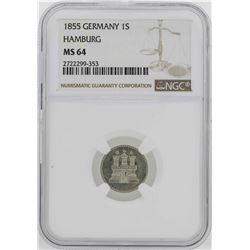 1855 Germany Hamburg Schilling Coin NGC MS64