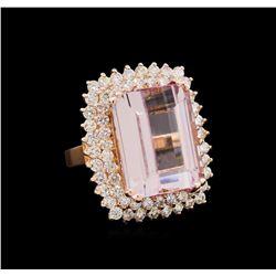 18.09 ctw Kunzite and Diamond Ring - 14KT Rose Gold
