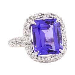 10.50 ctw Tanzanite And Diamond Ring - 18KT White Gold
