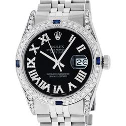 Rolex Mens Stainless Steel Black Roman Diamond & Sapphire Datejust Wristwatch Wi