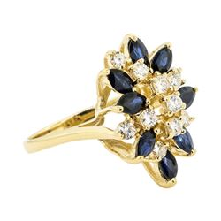 1.20 ctw Sapphire and Diamond Ring - 14KT Yellow Gold