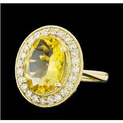 4.22 ctw Citrine Quartz  and Diamond Ring - 14KT Yellow  Gold