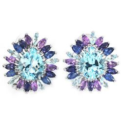 Natural MULTI COLOR TOPAZ AMETHYST SAPPHIRE Earring