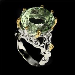 Natural Handmade Oval 18x16mm Green Amethyst Ring