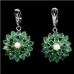 Natural Green Emerald Fire Opal 61 Ct Earrings