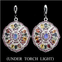 Natural White Opal Ruby Sapphire Earrings