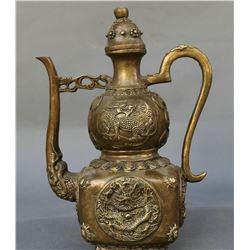 Antique Chinese Bronze Dragon Kylin Wine Tea Pot