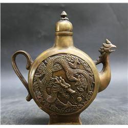 Antique Chinese  Auspicious Dragon & Phoenix Pot