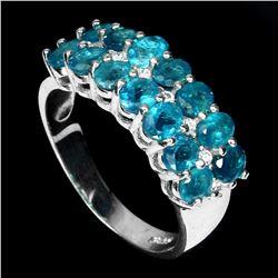 Natural Brazil Neon Blue Apatite Ring