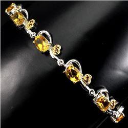 Natural Oval Yellow Citrine Garnet 64 Carats Bracelet