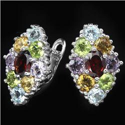 Natural Garnet & Multi Gem Stone Earrings