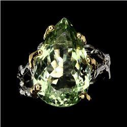 Natural 19x12mm Green Amethyst Ring