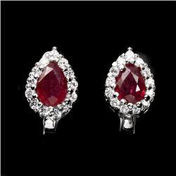 Genuine Pear 6x4mm Top Blood Red Ruby Earrings