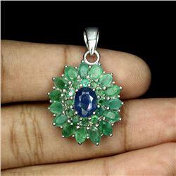 Natural Columbian Emerald & Sapphire Pendant