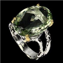 Natural 19x14mm Green Amethyst Ring