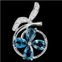 Natural London Blue Topaz Pendant