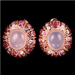 NATURAL ROSE QUARTZ OVAL CABOCHON Earrings