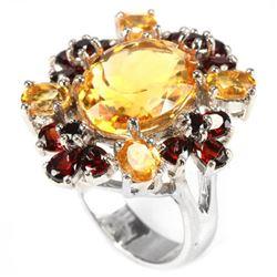 NATURAL 13X10 MM. ORINGISH YELLOW CITRINE & GARNET Ring