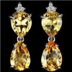 NATURAL 12X8 MM. ORANGISH YELLOW CITRINE Earrings