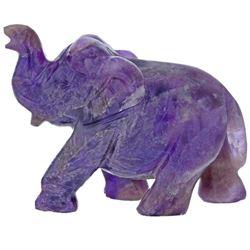 IMPRESSIVE 735 CT HAND CARVED  AMETHYST ELEPHANT