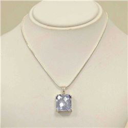 Sterling Silver White Topaz Necklace
