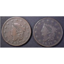 (2) 1817 MATRON HEAD LARGE CENTS V6 & FINE