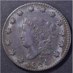 1824 MATRON HEAD LARGE CENT XF