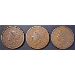 (3) 1834 MATRON HEAD LARGE CENTS FINE