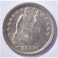 1853 ARROW SEATED LIBERTY DIME AU